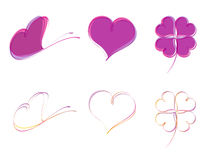 Butterfly, heart and four-leaf clover Stock Images