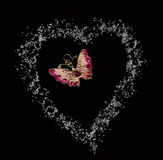 Butterfly in heart fron sugar in black background Royalty Free Stock Image