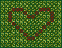 Butterfly heart pattern. Beautiful Butterfly red heart pattern on green background Stock Photos