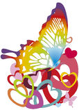 Butterfly on heart-shapes Stock Photos