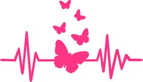 Butterfly Heartbeat Line With Butterfly Swarm Stock Image