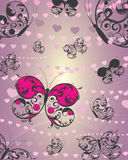 Butterfly and hearts Royalty Free Stock Photography