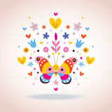Butterfly, hearts and flowers Stock Images