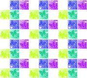 Butterfly hearts squares seamless background. Butterflies inside colored squares with corner hearts. Seamless pattern background Royalty Free Stock Photos