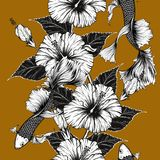 Fish and flower seamless pattern on vintage background. Butterfly and Hibiscus flower pattern by hand drawing.Tattoo art highly detailed in line art style.Fish Stock Images