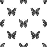 Butterfly icon in black style isolated on white background. Insects pattern stock vector illustration. Royalty Free Stock Images