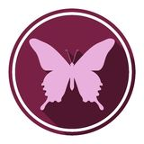 Butterfly icon with long shadow. Vector icon Stock Image
