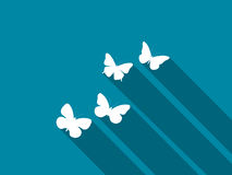 Butterfly icon with long shadow. Vector Stock Photography