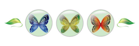 Butterfly Icon Set. Set of butterfly and leaf images Stock Image