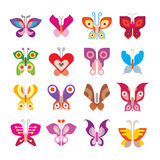 Butterfly icon set Stock Images