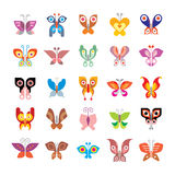 Butterfly icon set. Butterfly - large set of isolated vector icons on white background. Can be used as logo (logotypes Stock Photography