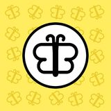 Butterfly icon sign and symbol on yellow background Royalty Free Stock Images
