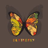 Butterfly icon style with shadow on brown background. Royalty Free Stock Image