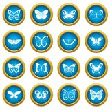 Butterfly icons blue circle set Stock Photography