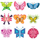 Butterfly icons colorful Royalty Free Stock Photography