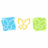 Butterfly Icons. Layered vector butterfly icons in three colors Stock Photography