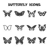 Butterfly icons. Mono vector symbols vector illustration