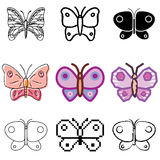 Butterfly icons set. Violet butterfly icons vector set vector illustration