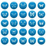 Butterfly vector icons set blue, simple style. Butterfly icons set blue. Simple illustration of 25 butterfly vector icons for web Royalty Free Stock Photography