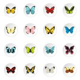 Butterfly icons set, flat style. Butterfly icons set. Flat illustration of 16 butterfly butterfly icons for web stock illustration