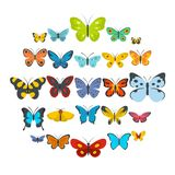 Butterfly icons set, flat style. Butterfly icons set. Flat illustration of 25 butterfly vector icons isolated on white background Royalty Free Stock Photos