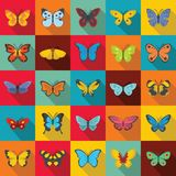 Butterfly icons set, flat style. Butterfly icons set. Flat illustration of 25 butterfly vector icons for web Royalty Free Stock Photo