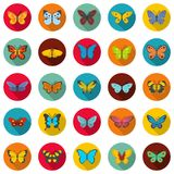 Butterfly icons set, flat style. Butterfly icons set. Flat illustration of 25 butterfly vector icons circle isolated on white Stock Photo