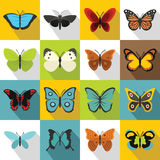 Butterfly icons set, flat style. Butterfly icons set. Flat illustration of 16 butterfly vector icons for web stock illustration