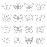 Butterfly icons set, outline style. Butterfly icons set. Outline illustration of 16 butterfly icons for web stock illustration