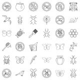 Butterfly icons set, outline style Stock Photo