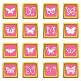 Butterfly icons pink Stock Photo