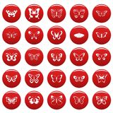 Butterfly icons set vetor red. Butterfly icons set. Simple illustration of 25 butterfly vector icons red isolated Royalty Free Stock Photo