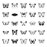 Butterfly icons set, simple style. Butterfly icons set. Simple illustration of 25 butterfly vector icons for web Stock Images