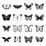 Butterfly icons set, simple style. Butterfly icons set. Simple illustration of 16 butterfly icons for web royalty free illustration