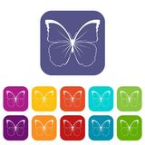 Butterfly icons set Royalty Free Stock Photography