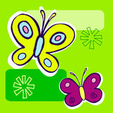 Butterfly Illustration. On green geometric background Royalty Free Stock Images