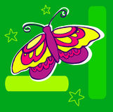 Butterfly Illustration. On dark green geometric background Stock Photography
