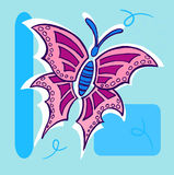 Butterfly Illustration on blue. Geometric background Stock Photos