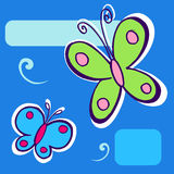 Butterfly Illustration on blue. Geometric background Stock Images
