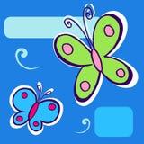 Butterfly Illustration on blue. Geometric background royalty free illustration