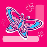 Butterfly Illustration on pink. Butterfly Illustration on magenta pink geometric background Stock Image