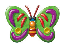 Butterfly illustration plasticine figurines. Vector illustration plasticine figurines of butterfly in a childrens style Royalty Free Stock Image
