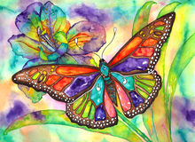 Butterfly iris. Color burst butterfly and iris watercolor hand painting Stock Photo