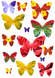 Butterfly isolated. Set of the forms of the butterfly isolated, creative for designer, collection art Stock Photo