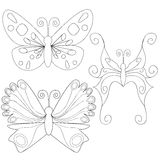 Butterfly isolated outlines book coloring. Character Royalty Free Stock Photography