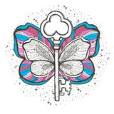 Butterfly and key magic illustration. Mystical symbol of freedom, spiritual search, flight, travel. Beautiful butterfly t-shirt de stock illustration