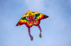 Butterfly kites. Flying in the blue sky Royalty Free Stock Photo