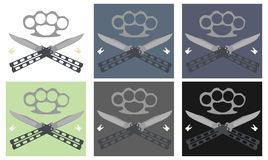 Butterfly knifes with steel brass knuckle and teeth emblem. Crossed butterfly knifes with steel brass knuckle and broken teeth emblem in different backgrounds Royalty Free Stock Photos