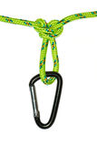 Butterfly knot on a rope and carabiner Royalty Free Stock Photos