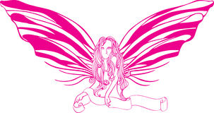 Butterfly lady. A half body lady with long hair and butterfly wings holding a ribbon for text stock illustration